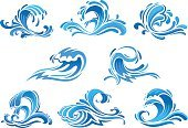 Blue sea and ocean waves or surf icons