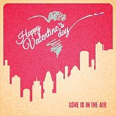 Valentine card city landscape with skyscrapers silhouette