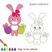 Pink Bunny to be colored. Game for kids
