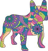 French bulldog painted silhouette