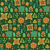 Vector floral pattern design background with butterflies