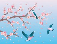 Cherry blossom and swallows.