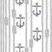 Seamless pattern with marine rope, knots and anchors.