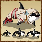 Set of killer whales and the armed orca