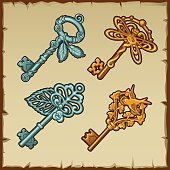 Set of vintage keys with floral and bird ornament