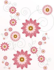 Stylized Chrysanthemums Floral Background Design with Graceful S