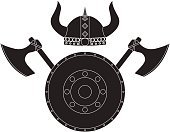 Viking helmet. Axe and shield. Medieval icon.