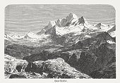 Mount Everest (falsely Gaurishankar), wood engraving, published in 1882