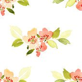 Seamless pattern with flowers watercolor.