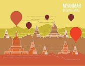 Bagan Temple with hot air balloon.