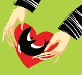 Human hands holding orca with heart background. Illustration on extinct