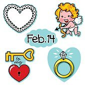 Valentines day true love illustration icon set with cupid