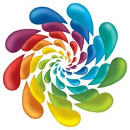 abstract rainbow blob flower