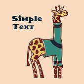 Cartoon vector giraffe with place for text
