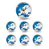 Globe set with EU countries World Map Location Part 2