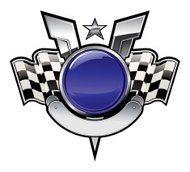 racing emblem with chequered flags