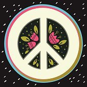 Peace symbol with flowers and decoration elements. Pacifism sign