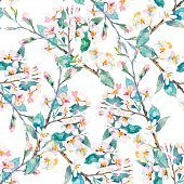 Spring pattern.Flowering branches. Watercolor. Vector