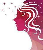 Abstract vector background. Stars and a female profile.