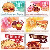 Six different discount coupons for fast-food or dessert.