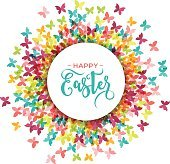 Colorful Happy Easter and spring greeting card, poster with butterflies