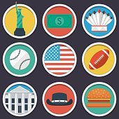 USA flat circle icon set
