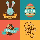 Colorful Happy Easter greeting card with rabbit, bunny, eggs