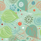 Retro autumn mix. Nature seamless pattern.