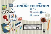 Online education and flat design illustration concepts for busin