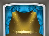 Blue curtain of classical theater with gold spotlights and sprinkles