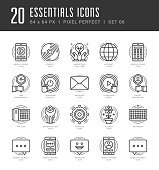 Line icons set. Trendy Modern Flat thin linear stroke vector