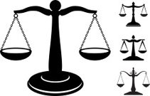 scale of justice black and white royalty-free vector icon set