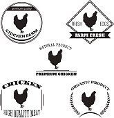 Set chicken and eggs farm logo emblem.