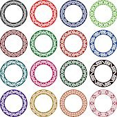 Sixteen plates colored ornaments