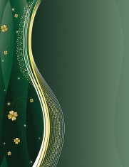 Green St. Patrick's Day Background with Gold Four Leaf Clovers