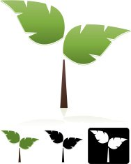 Trees with Two Leaves Design Element, Emblem Set