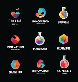 Technology, laboratory, creativity innovation and science abstract icons
