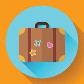 Vector vintage Travel Suitcase icon with long shadow. Flat design
