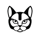 Black Cat Face Icon on White Background. Vector