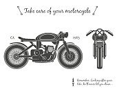 Vintage motorcycle infographic. Cafe racer theme