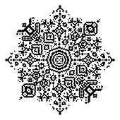 Geometric round element, snowflake or mandala, in pixel art style.