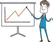 Businessman standing and pointing to blank presentation board