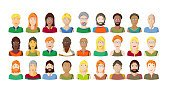 Young people portraits on white background, cartoon style