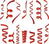 Red ribbons set on white background