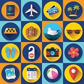 Travel and tourism icon set. Flat designed style