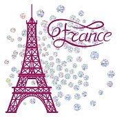Eiffel Tower and lettering France on the vector diamond