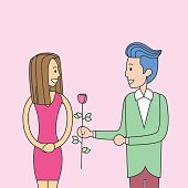 Holiday 8 March Couple Man Give Woman Rose Flower