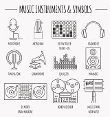 Musical instruments & symbols graphic template.