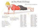 thirty days plank challenge illustration