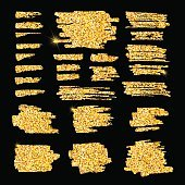 Set of glitter golden banners and brushes